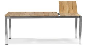 Gartentisch aus Edelstahl & Teakholz