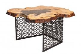 Tisch Samara, Wildesche & Kunstharz Tischgestell aus Stahl