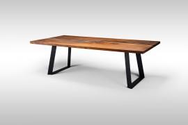 Massivholztisch mit Epoxidharz aus Nussholz Dun078
