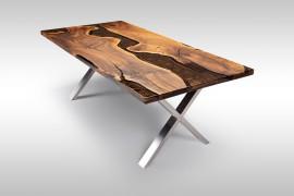 Massivholztisch mit Epoxidharz aus Walnussholz Dun077