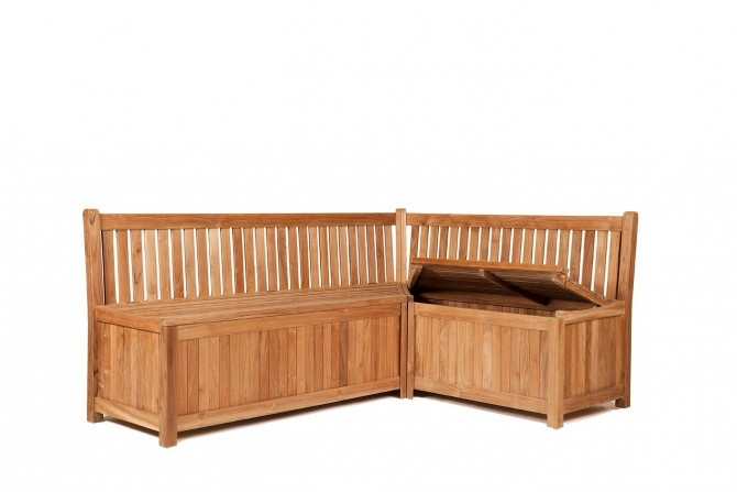 Garten eckbank truhe malton, teakmöbel, garten bank, aus teakholz, massivholz