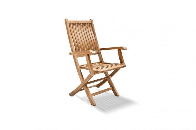 Klappstuhl jepara ergo, mit armlehnen aus teakholz, stuhl, gartenstuhl