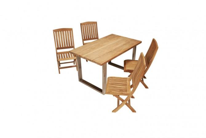 Teak und Edelstahl Tisch