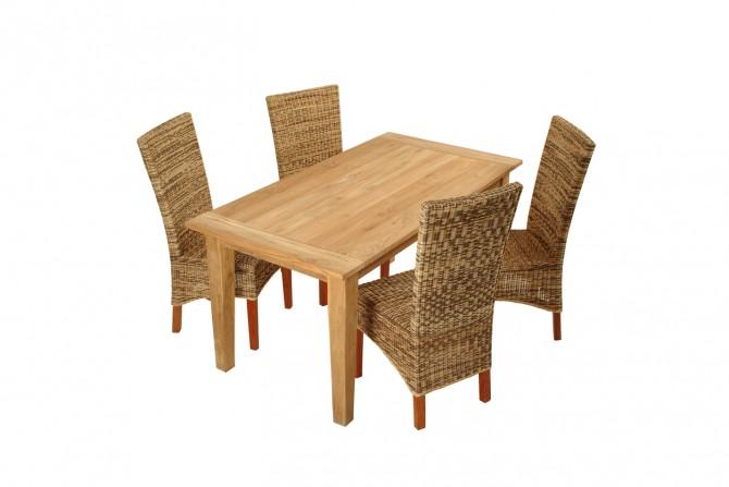 Teakholz Tisch mit Rattanstühle